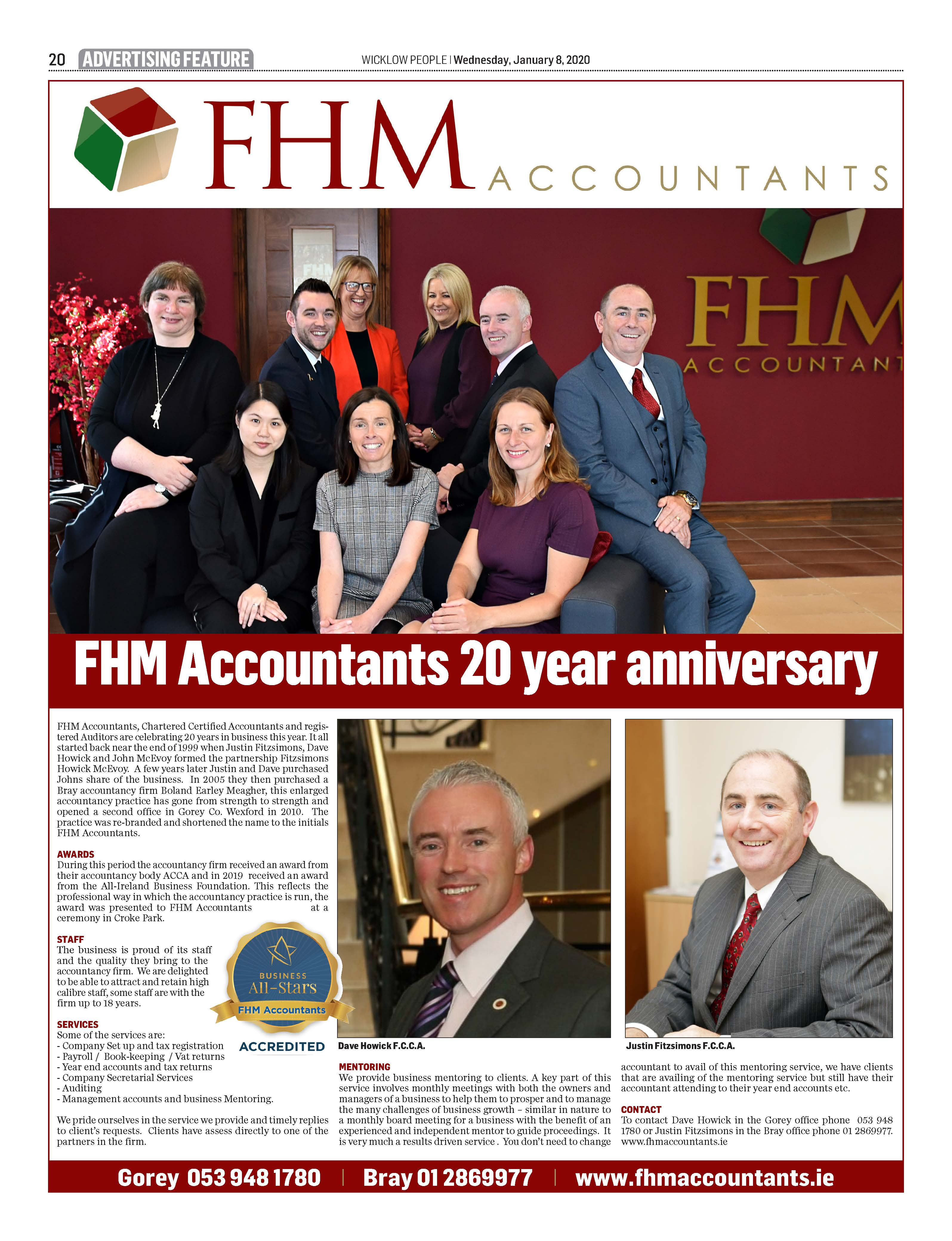 FHM Accountants 20 Years Wicklow People Article